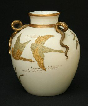 Royal Worcester - White Vase With Serpent Handles