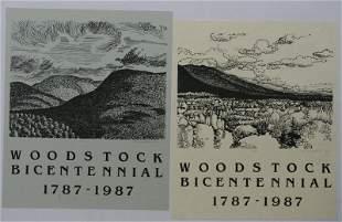 Robert Angeloch, Pair Woodstock Bicentennial Posters