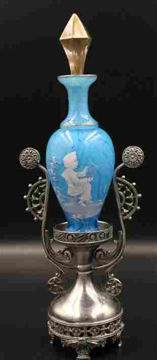Victorian Mary Gregory Perfume in Tufts Silverplate
