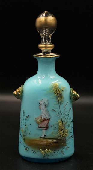 Victorian Mary Gregory Cased Cologne Bottle
