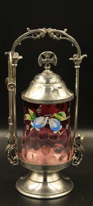 Victorian Cranberry Barbour Silverplate Pickle Castor