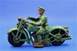 Hubley Cast Iron Patrol Motorcycle Toy