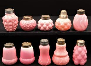 10pc. Lot Pink Victorian Colored Glass Salt Shakers