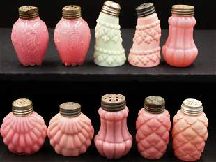 10 pc. Lot Pink Victorian Colored Glass Salt Shakers