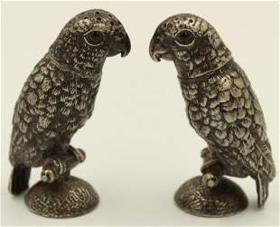 Pair of Victorian Silverplate Parrot Salt Shakers