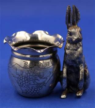 Meriden Victorian Silverplate Rabbit Toothpick Holder