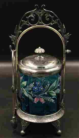 Victorian Blue enameled Silverplate Pickle Castor