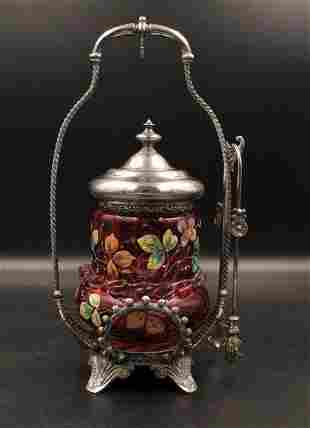 Victorian Silverplate Cranberry Pickle Castor