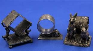 3pc. Lot Victorian Silverplate Figural Napkin Rings