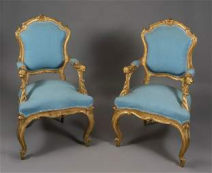 Pair of armchairs. Elizabethan period, Louis XV style,
