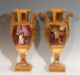 """Pair of vases Old Paris"". France, c.1830, Restoration"