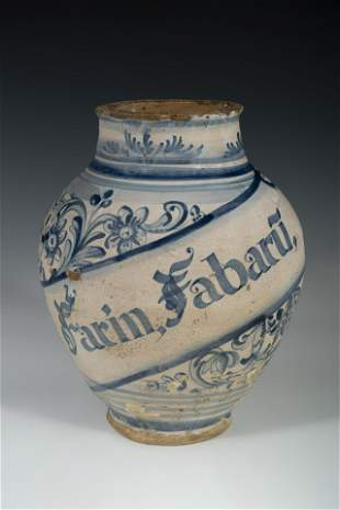 Pharmacy jar; Catalonia; century XVIII. Pottery. It