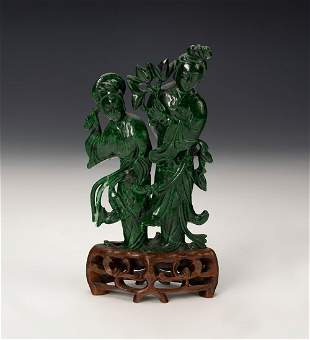 Fairy figure. China, 20th century. Malachite carved by