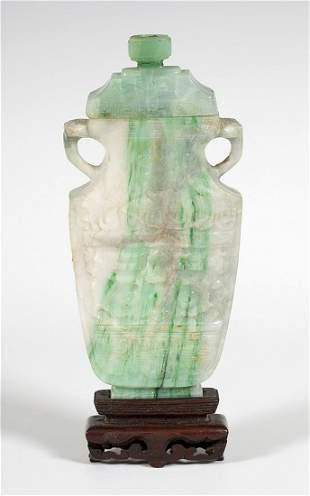Vase with lid, China, early twentieth century. Jade