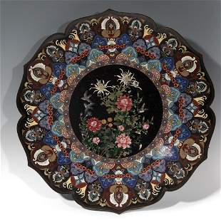 Large plate. China, early 20th century. Cloisonné