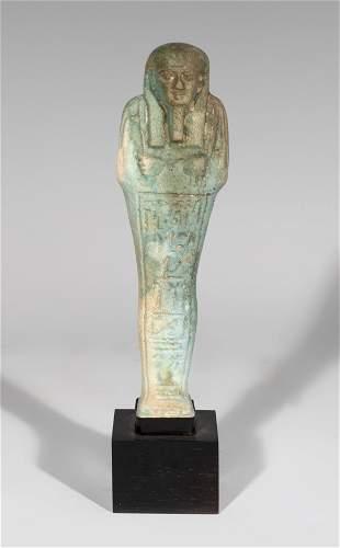 Ushabti for Ipethemetes. Egypt, 664-332 BC Faience.