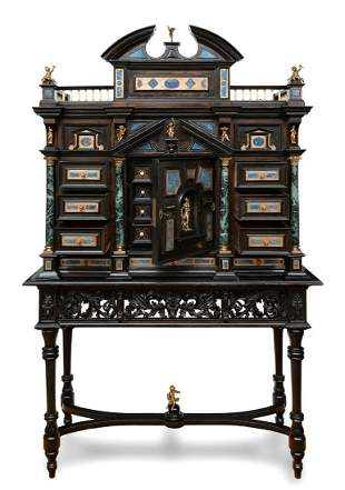 Cabinet, Florence, mid-19th century.  Front in ebony