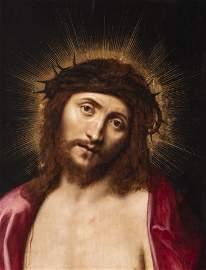 "Italian school; around 1630-1640.  ""Ecce Homo"".  Oil on"