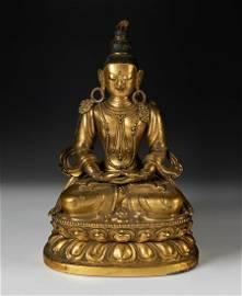 Amitayus Buddha. Tibet, 17th-18th century.  Mercury