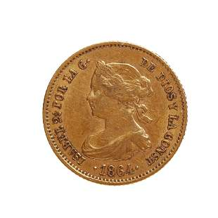 Coin of 40 reales of Isabel II, 1864, mint Madrid.