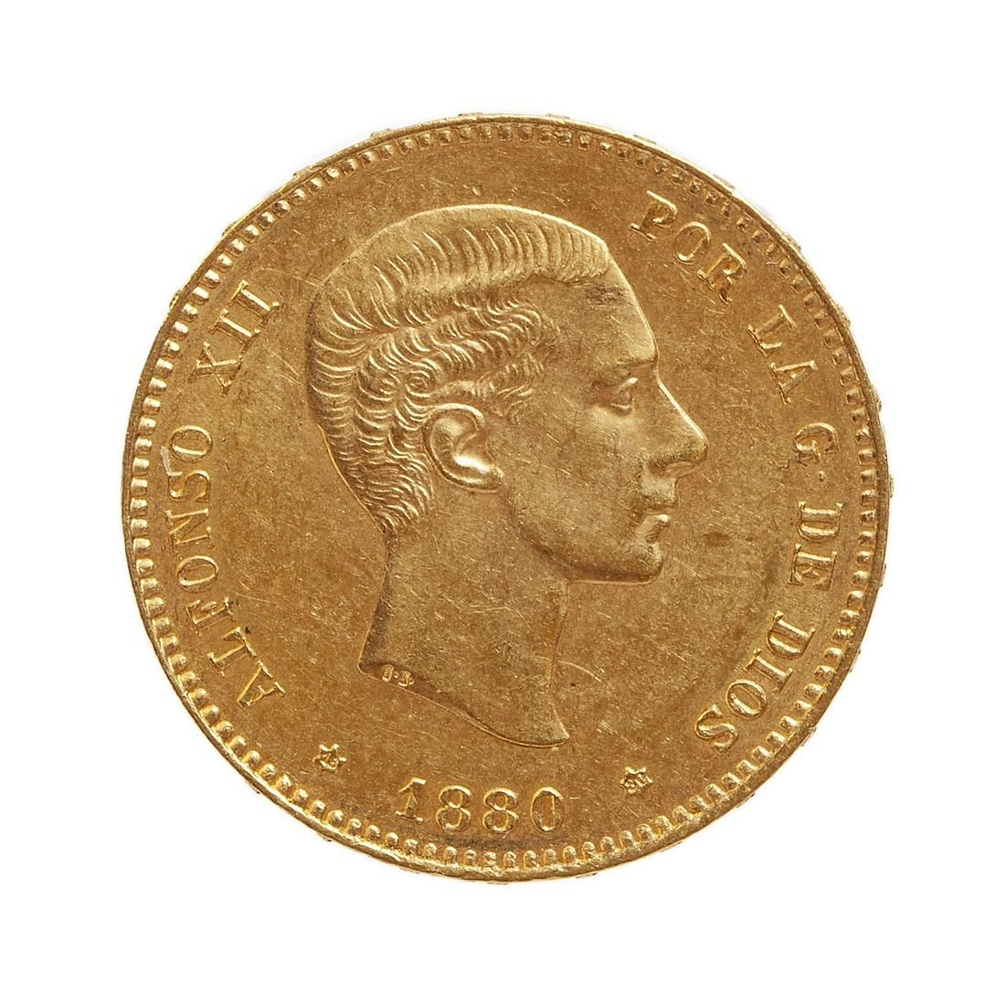 Coin of 25 pesetas of Alfonso XII, 1880, mint Madrid.