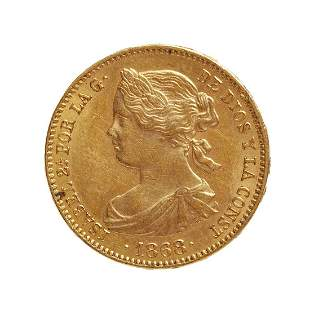 Coin of 10 escudos of Isabel II, 1868, mint Madrid.