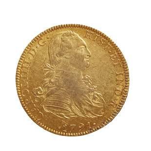 Coin of 8 escudos of Carlos IIII, 1791, mint Mexico.