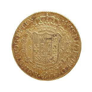 Coin of 8 escudos of Charles IIII, 1797, mint Nuevo