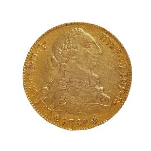 Coin of 8 escudos of Charles III, 1787, Seville mint.