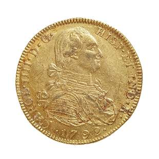 Coin of 8 escudos of Charles IIII, 1792, mint Nuevo