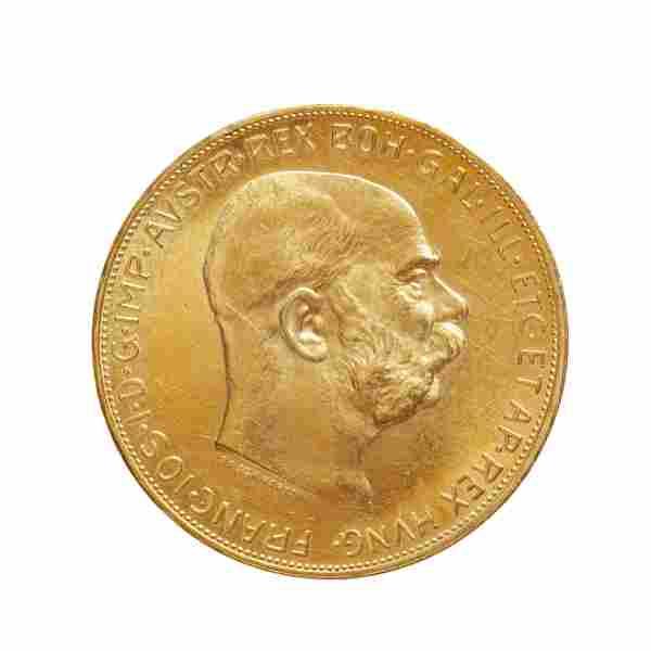 Coin of 100 crowns of Franz Joseph I, 1915, Austria.