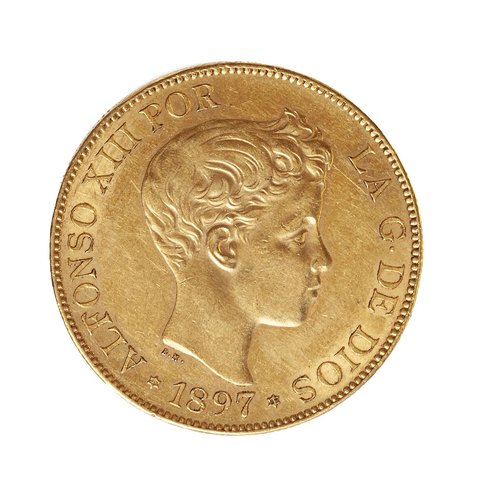 Coin of 100 pesetas of Alfonso XIII, 1897, mint V.