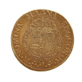 Coin of 8 escudos of Carlos III, 1761, mint Mexico.