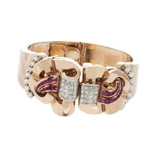 Detachable bracelet-brooch double clip Chevalier, ca.