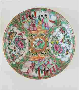 1800s Chinese Rose Medallion Display Plate