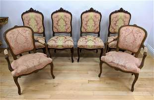 6pc French Carved Chairs. Pair of floral crest fa