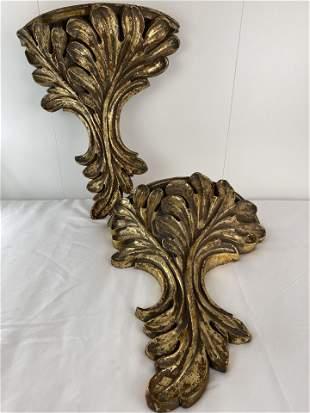 A Pair of Italian Hand Carved Gilt Shelves