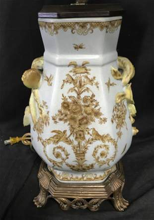 Pair of Porcelain Vegetal Rococo Lamps