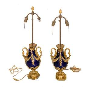 Pair French Gilt Bronze Porcelain Cobalt Lamps