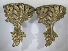 French Vintage Pair of Gilt Wood Wall Brackets