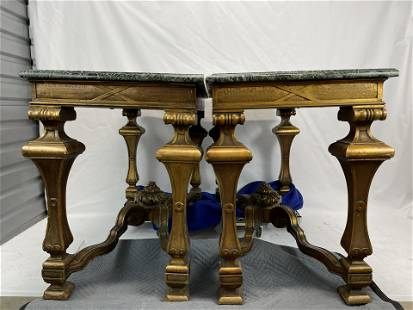 Pair of marble top lobby tables, gilt and green marble