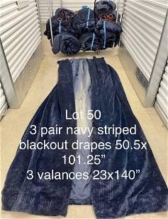 2.5 Pair Navy blue Velvet striped blackout drapes W/Val