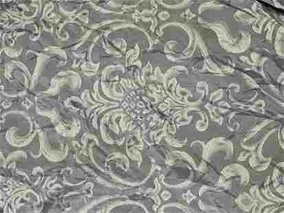 2 Pr Silk Drapes in Blue Damask pattern with 2 Valances