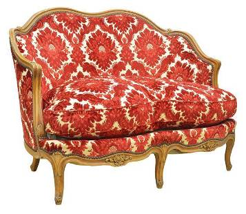 FRENCH LOUIS XV STYLE FRUITWOOD UPHOLSTERED SOFA