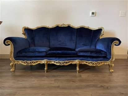 BLUE VELVET FRENCH LOUIS XV STYLE THREE-SEAT GILTWOOD