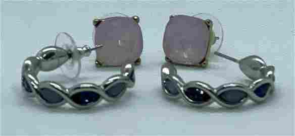 2 Pair of Earring, blue Topaz Sterling Silver