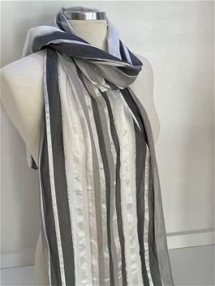 Gray Striped Silk Scarf