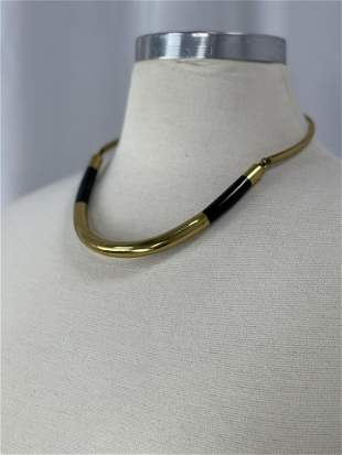 Hand Made African Bronze and Obsidian Choker