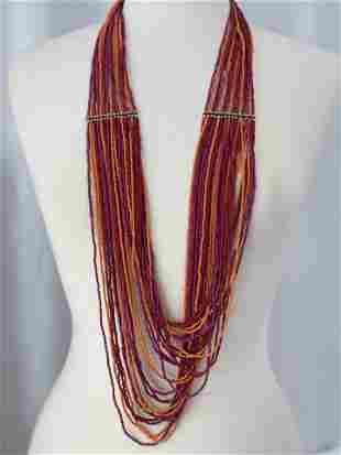 Orange, Red & Pink Multi Strand Beaded Necklace