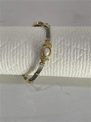 Silver, 14kt Gold and Pearl Bracelet